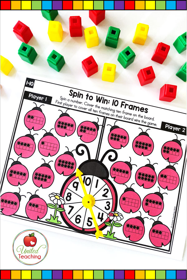 Spin to Win 10 Frames for numbers 1-10 colored game mat