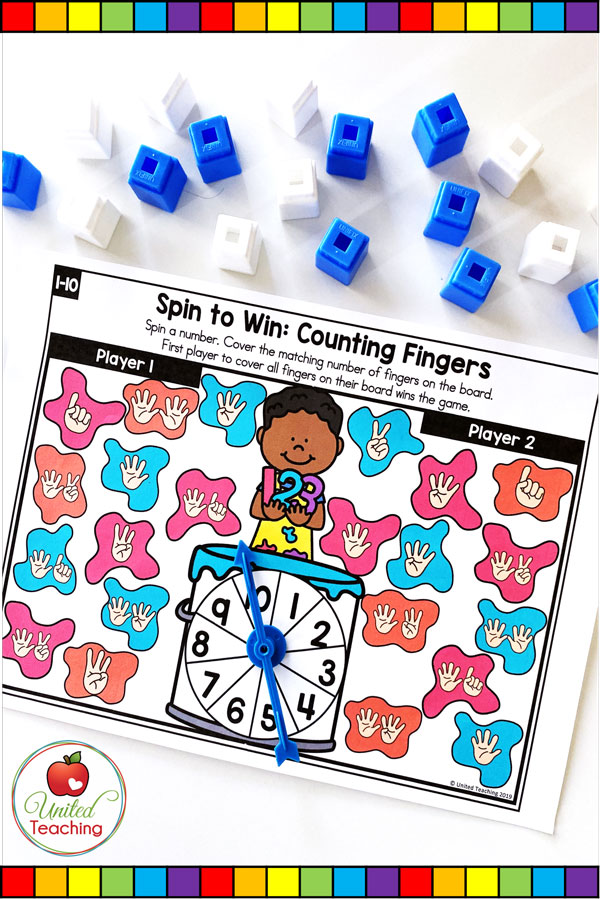 Spin to Win Counting Fingers for numbers 1-10 colored game mat