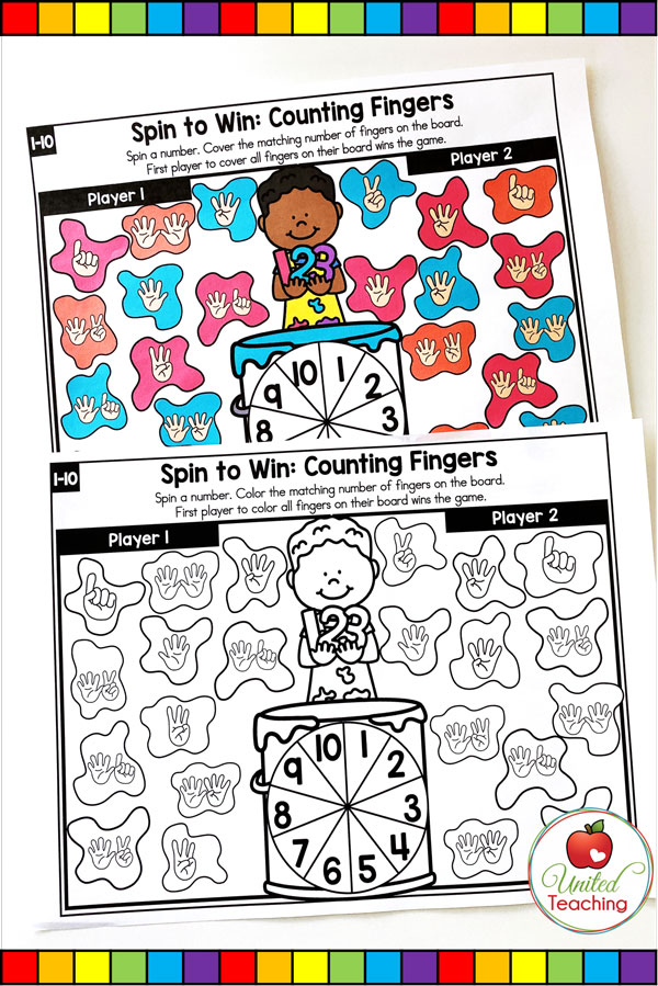 Spin to Win Counting Fingers for numbers 1-10 colored and worksheet game mats