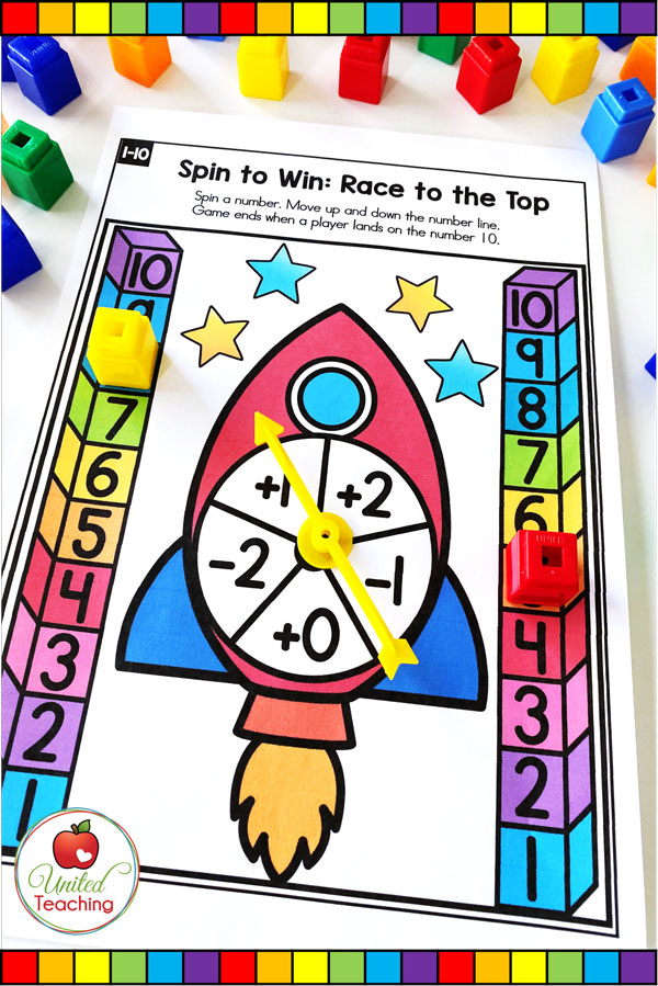 Spin to Win Race to the Top for numbers 1-10 Game