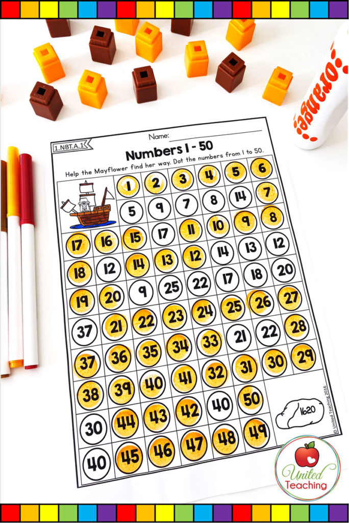 Numbers 1 to 50 counting maze math worksheet