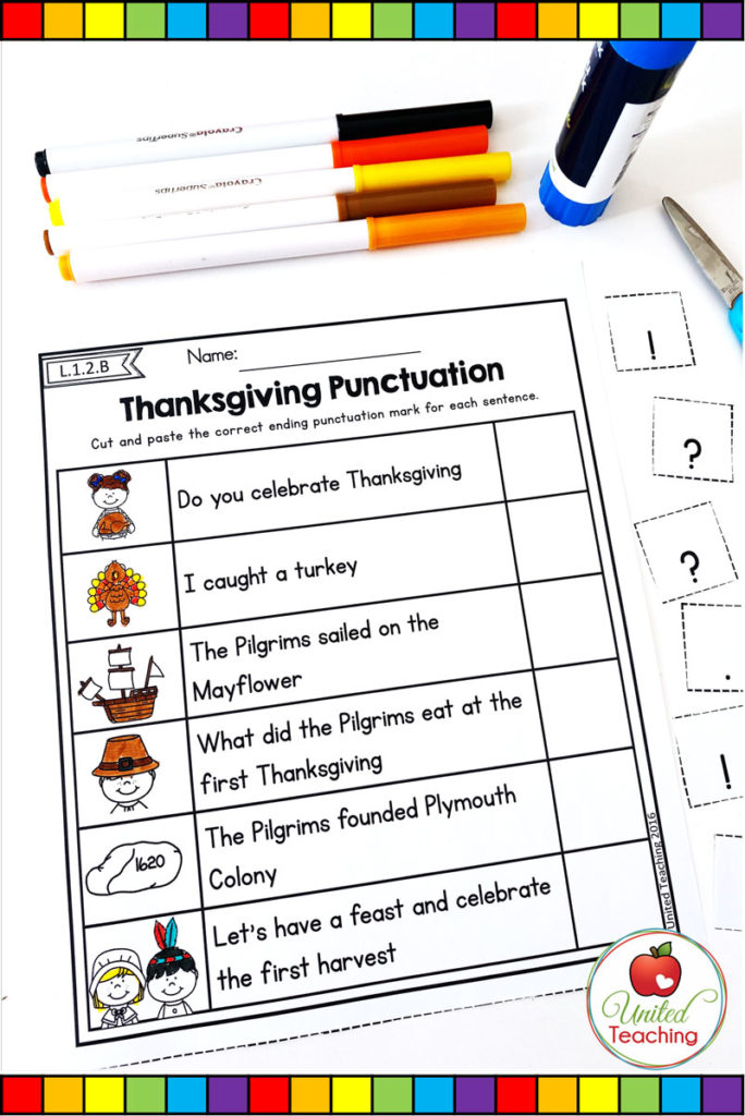 Thanksgiving punctuation grammar worksheet