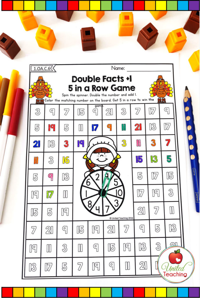 Thanksgiving Doubles Facts +1 game math worksheet
