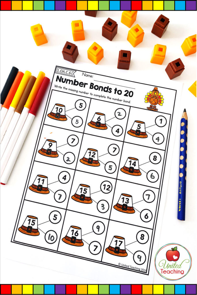 Thanksgiving Number Bonds to 20 math worksheet