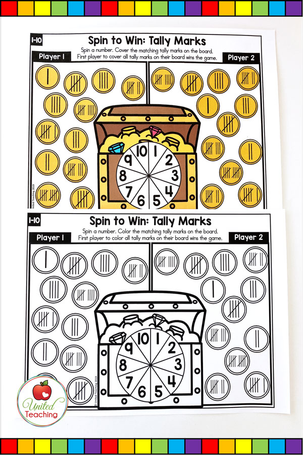 Spin to Win Tally Marks for numbers 1-10 colored and worksheet math game