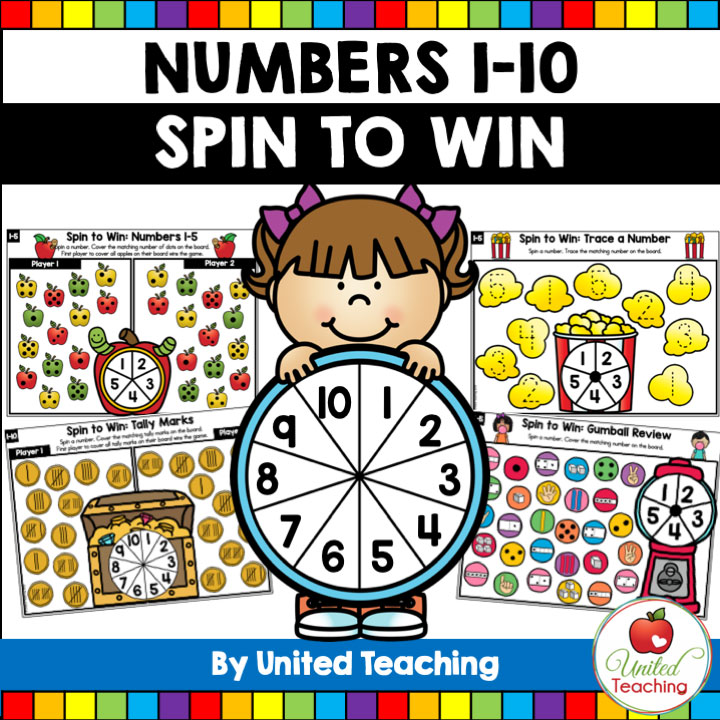 Spin to Win Counting 1-10 Math Games Bundle