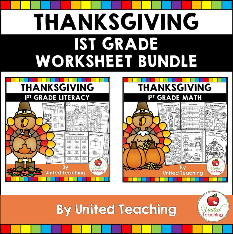 Thanksgiving Math and Literacy 1st Grade Bundle