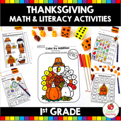 Thanksgiving Math and Literacy Activities (1st Grade)