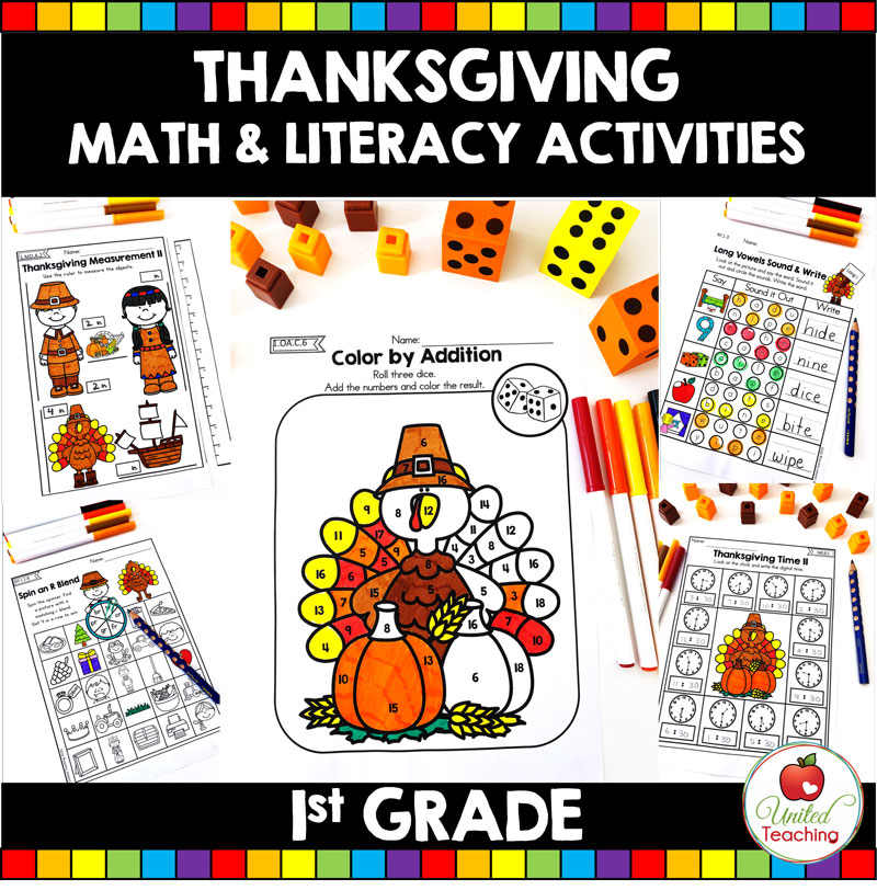 Thanksgiving Math and Literacy Activities for First Grade students.