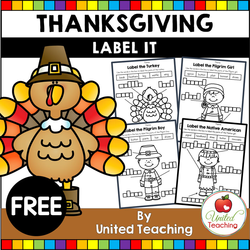 FREE Thanksgiving Labeling Activities packet.