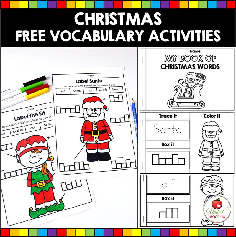Free Christmas Vocabulary Activities for Kindergarten students.