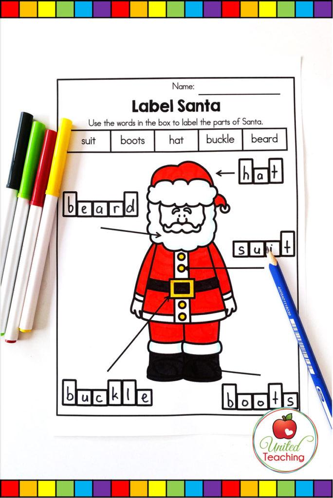 Label Santa worksheet