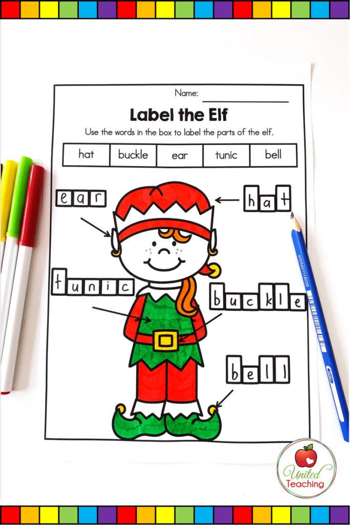 Label the Elf worksheet