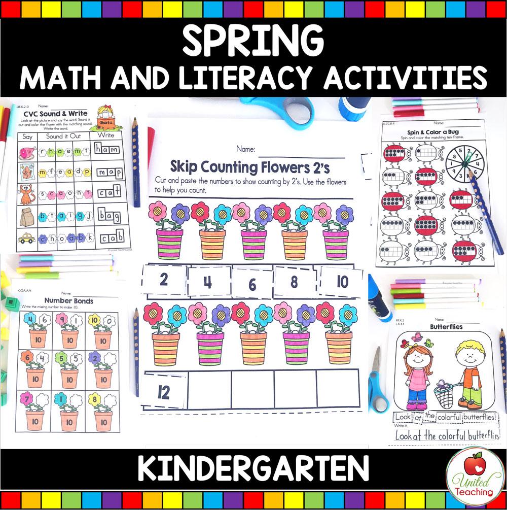 Spring Math and Literacy Activities (Kindergarten) packet