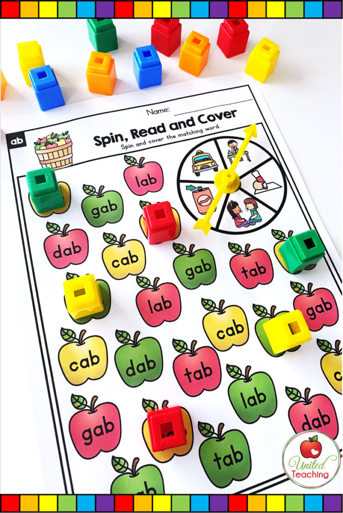 Spin, Read and Cover CVC Word game mats.