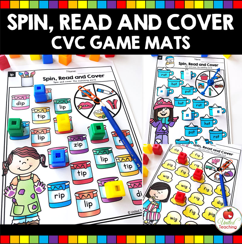 Spin, Read and Cover CVC Word Games for beginning readers