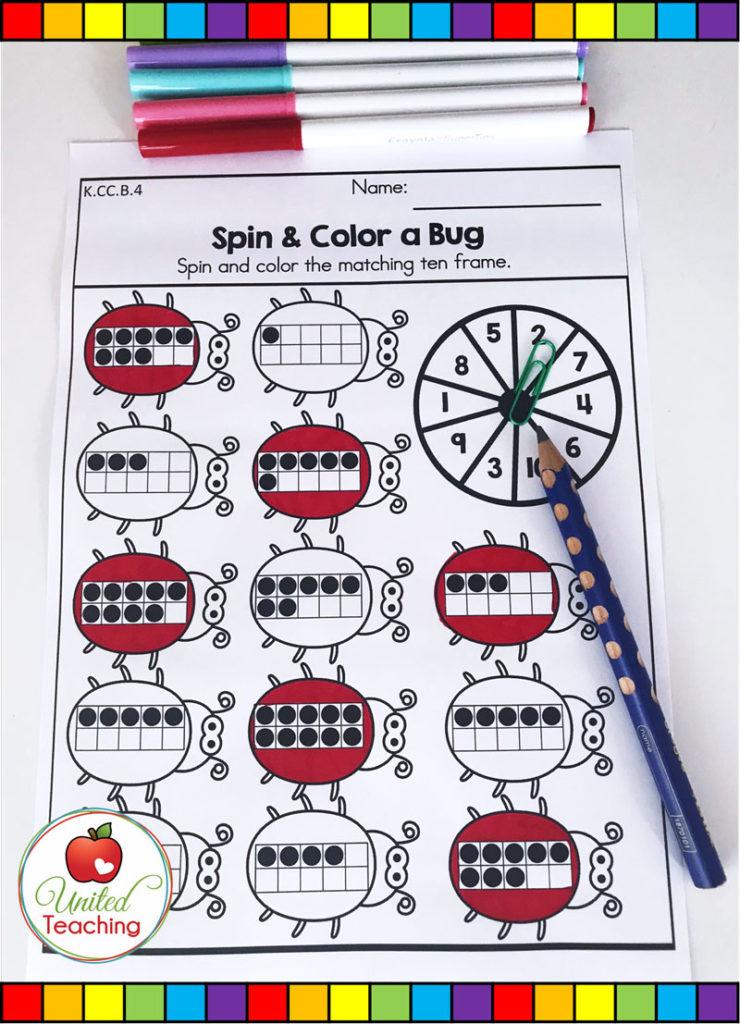 Spin and Color a Ten Frame spring math activity