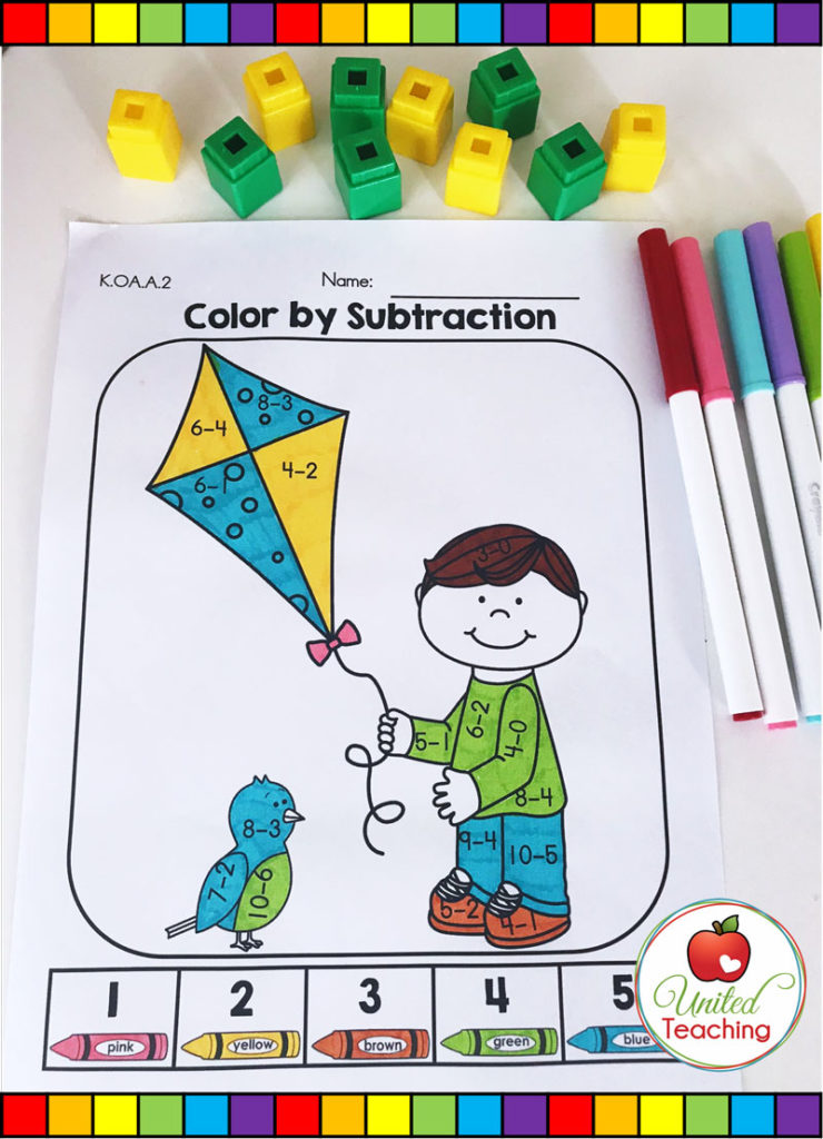 Color by Subtraction Spring math activity for kindergarten