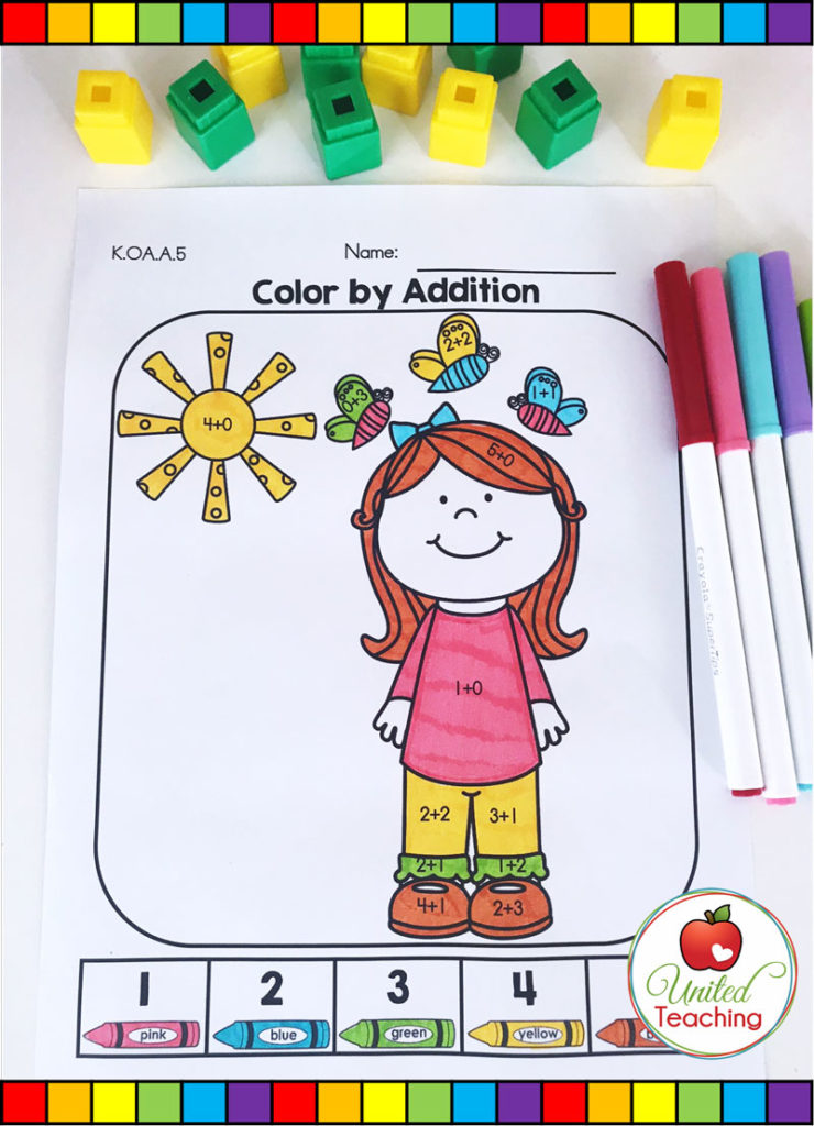 Color by Addition Spring math activity for Kindergarten students