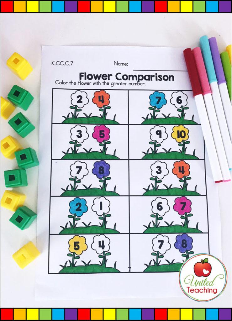 Flower Comparison - number comparison math activity