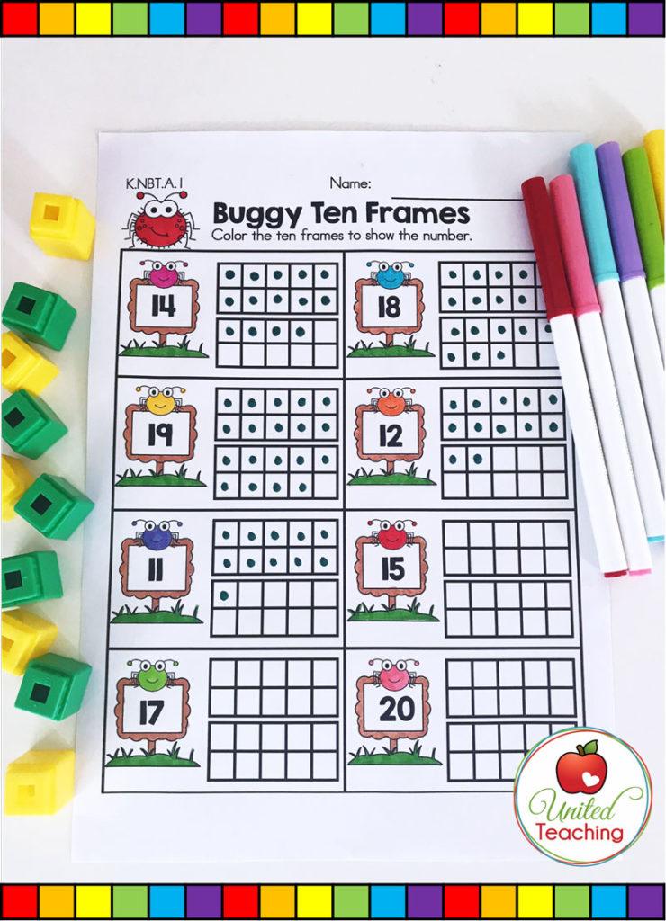 Buggy Ten Frames - ten frames math activity for teen numbers