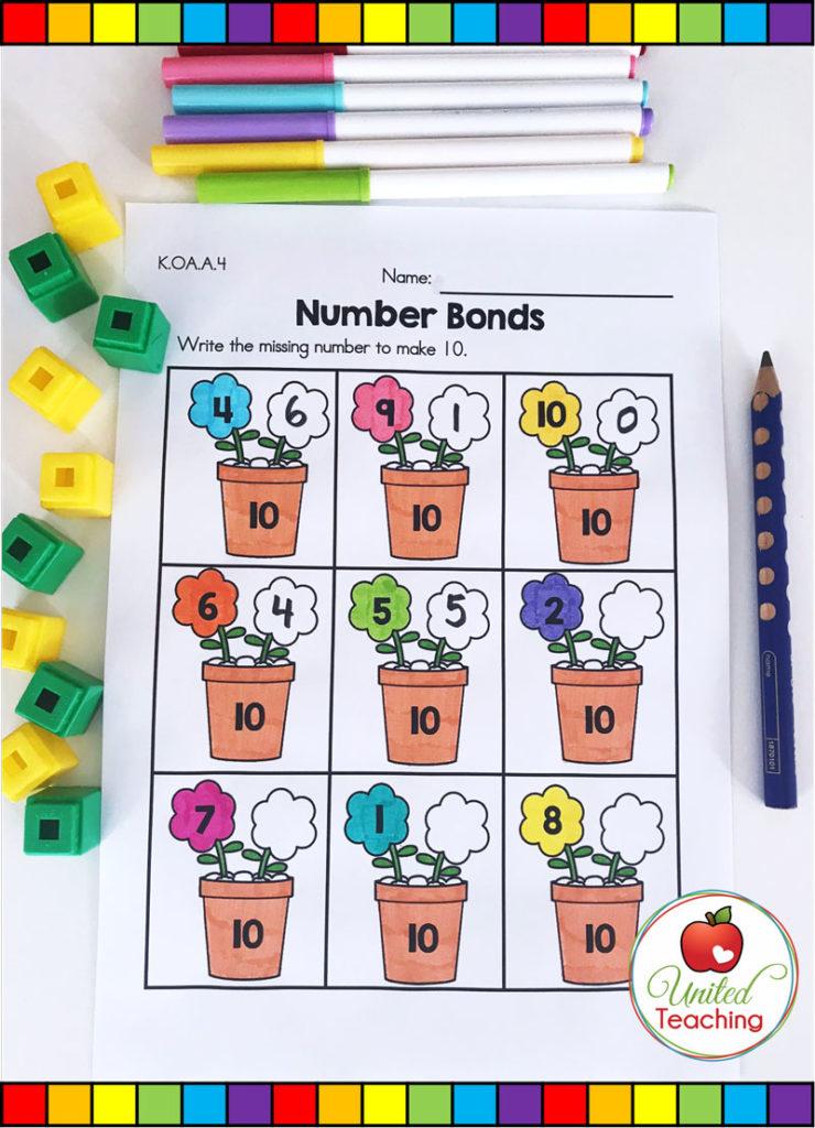 Number Bonds Spring math activity for kindergarten students