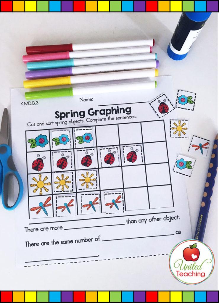 Spring Graphing math activity for kindergarten