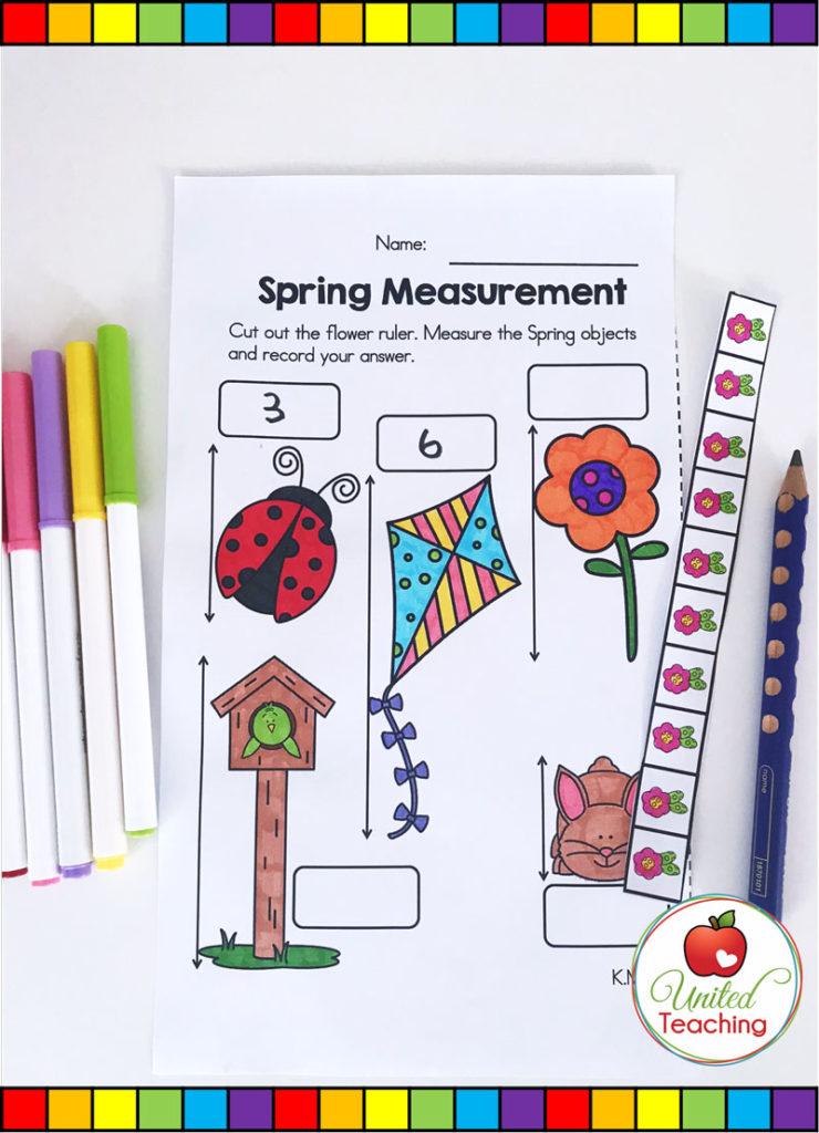 Spring Measurement math activity for kindergarten students