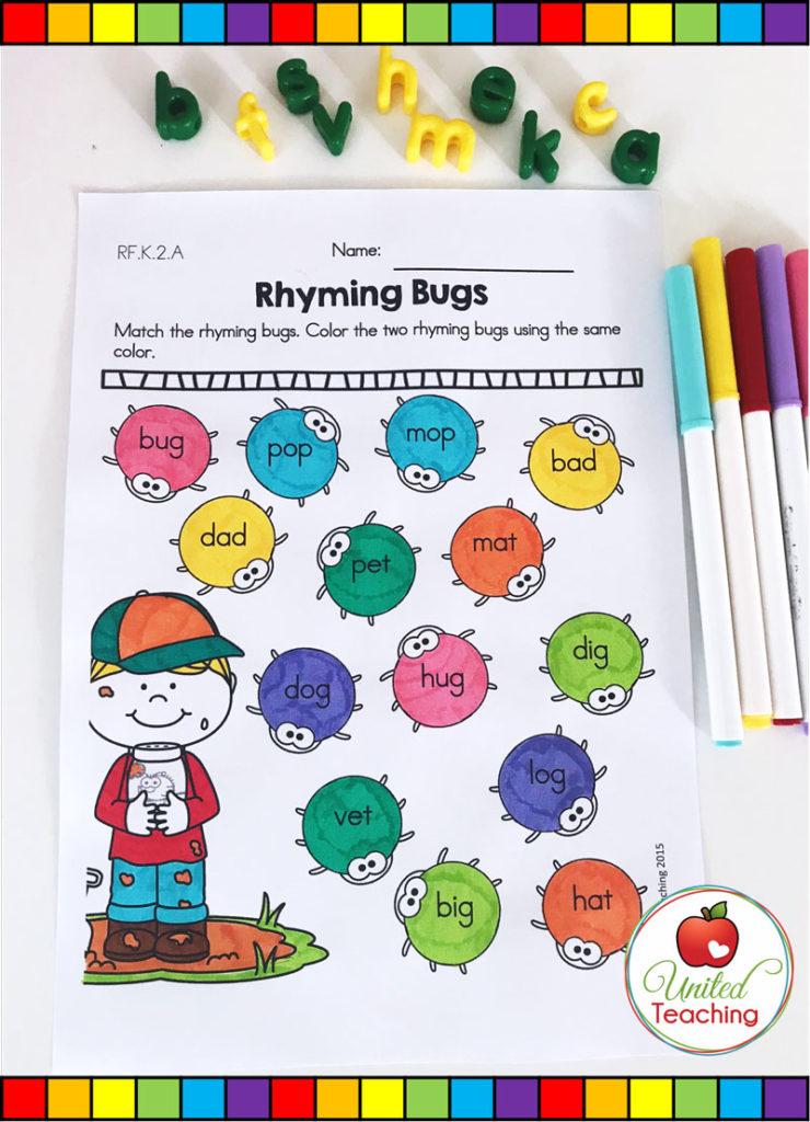 Rhyming Bugs Spring literacy activity
