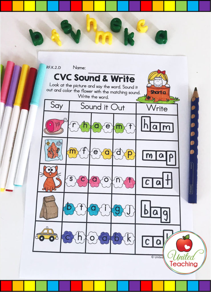 CVC Sound & Write Spring activity