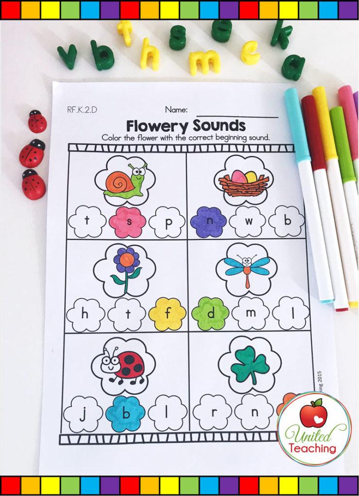 Flower Sounds - beginning sounds Spring activity