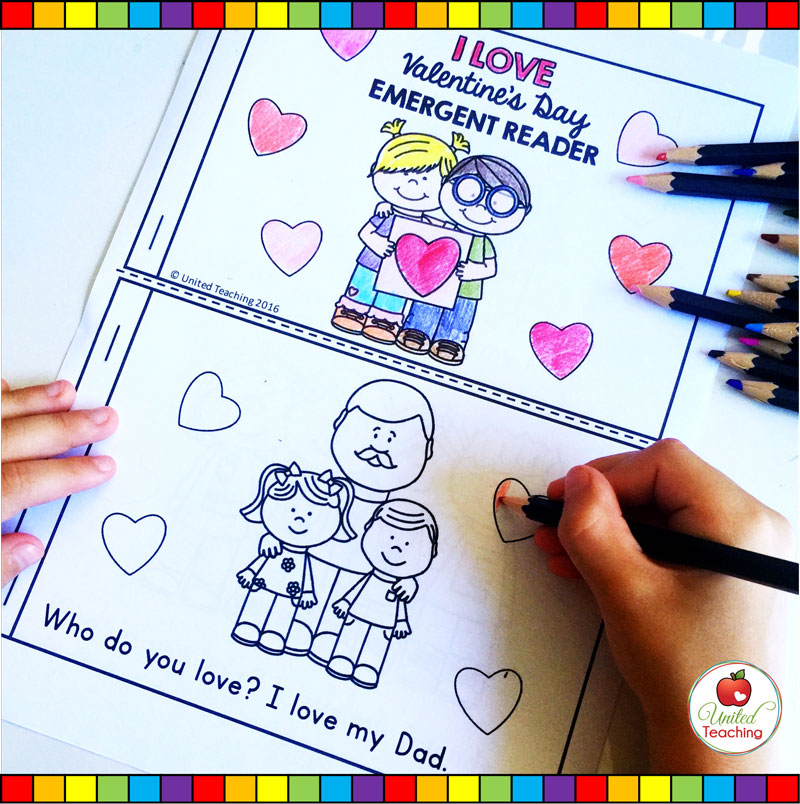 Coloring the Valentine's Day Emergent Reader