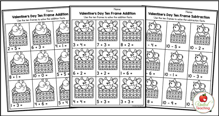 Valentine's Day ten frame addition and subtraction worksheets.