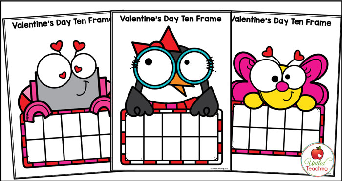 Valentine's Day ten frame mats for math centers.