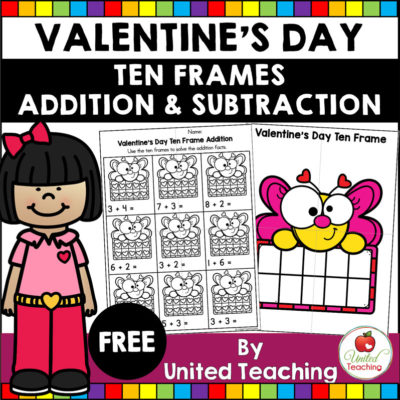 Valentine's Day Addition and Subtraction with Ten Frames