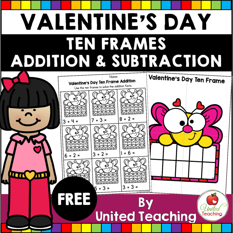 FREE Valentine's Day Ten Frames Addition and Subtraction Math Center.