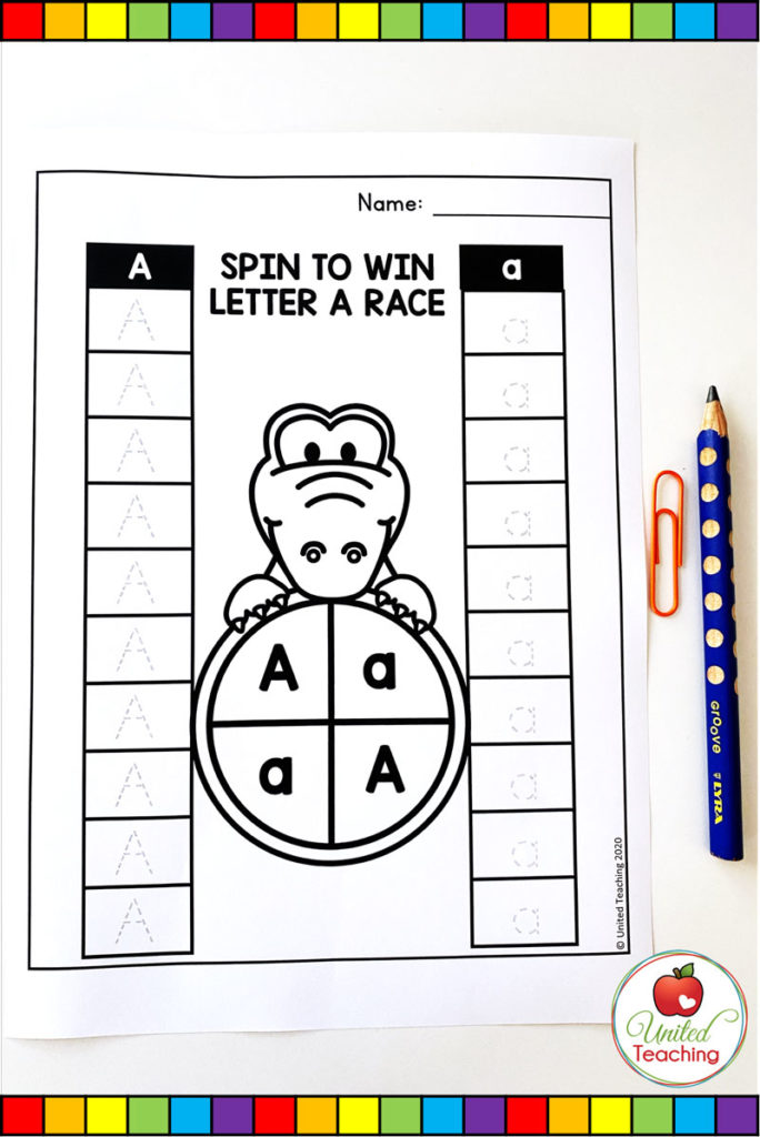 Race to the Top Worksheet game for letter a
