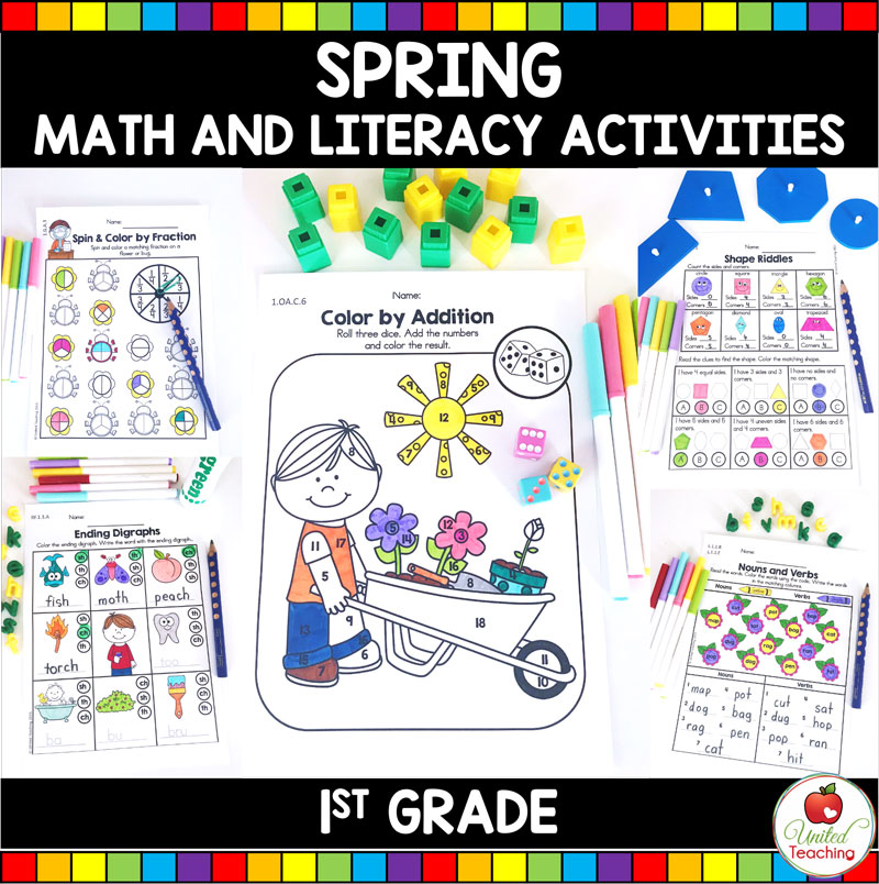 Spring Math and Literacy Activities for 1st grade students.