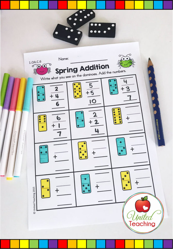 Domino math addition worksheet