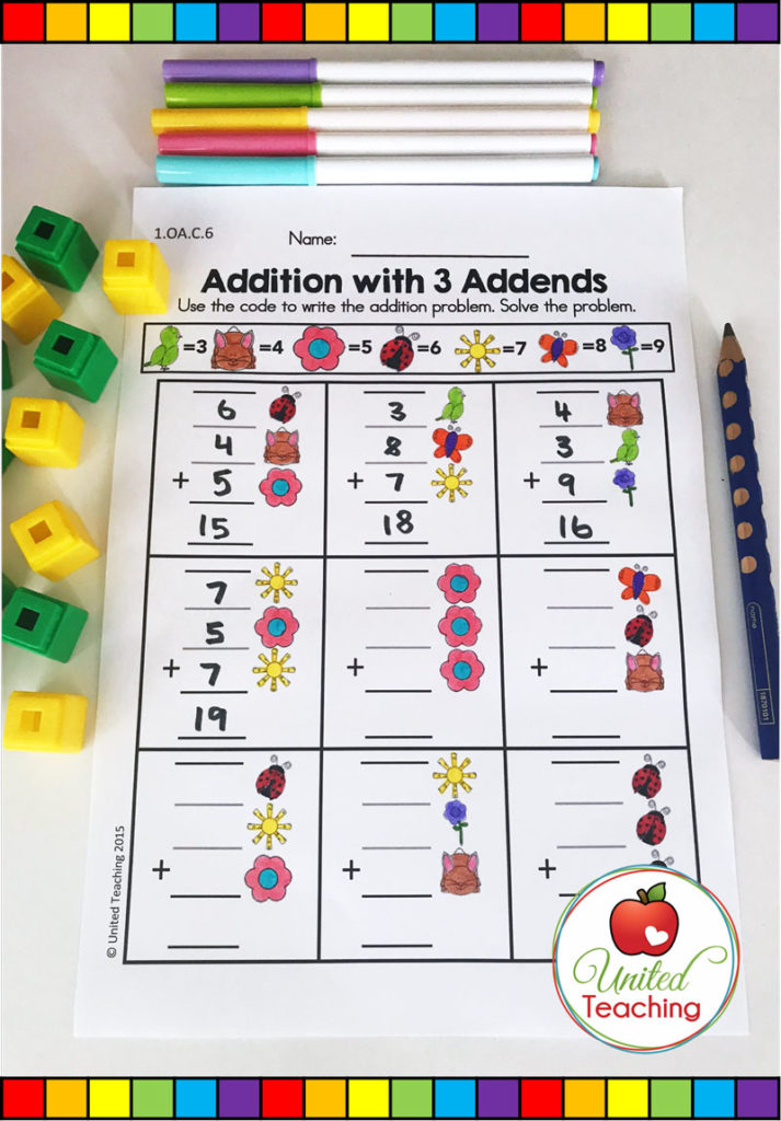 Addition with 3 addends math worksheet.