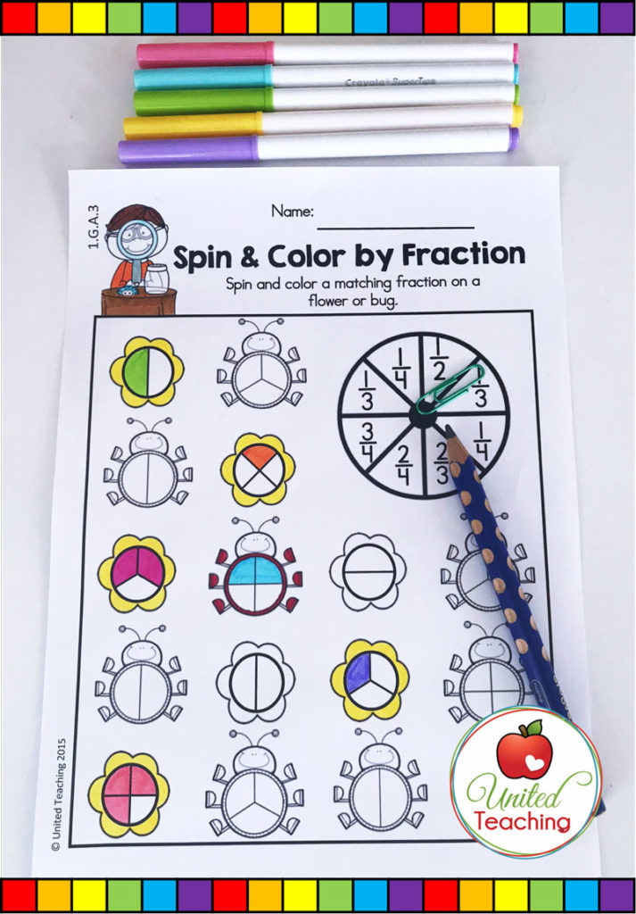 Spring Fractions math activity for identifying common fractions in a partitioned circle.