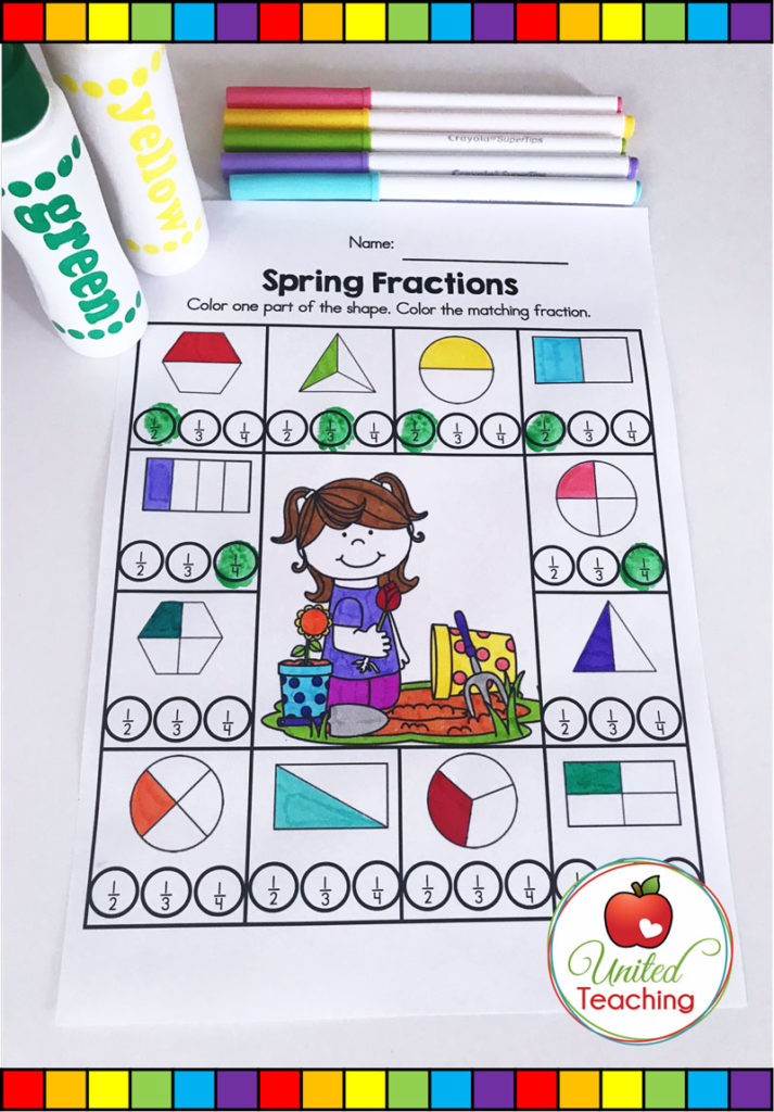 Spring Fractions worksheet for identifying common fractions in partitioned shapes.