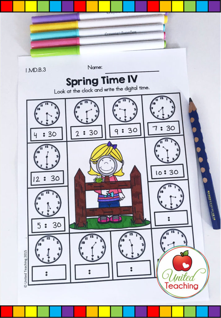 Telling time to the half hour no prep worksheet.