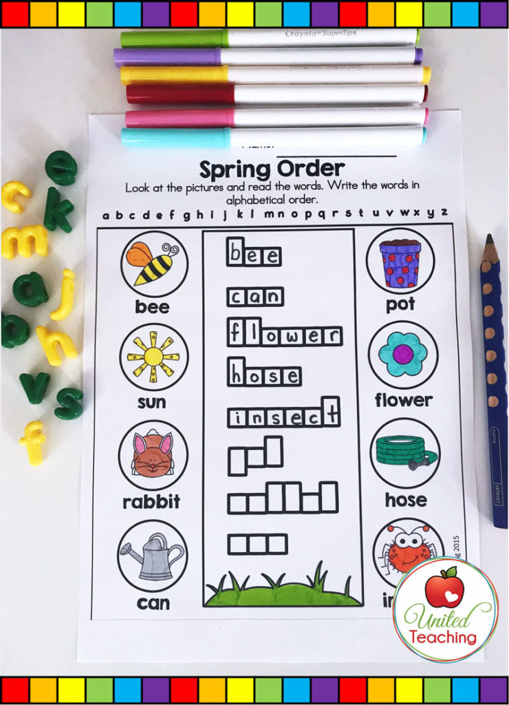 Spring Alphabetical Order Activity.
