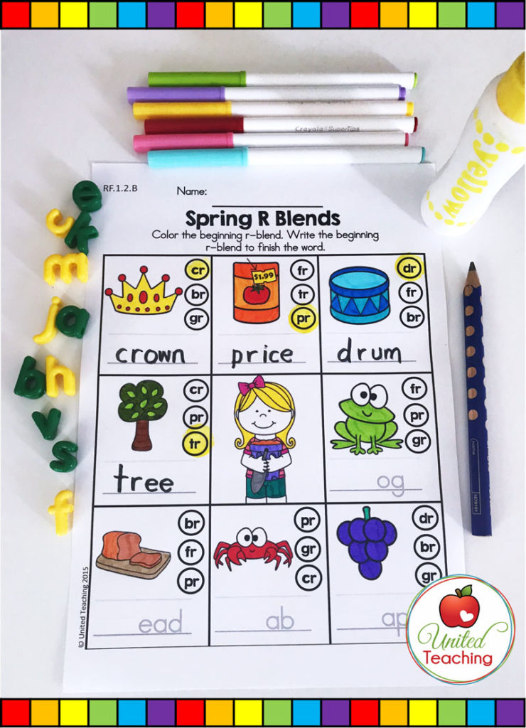 Spring R Blends worksheet for teaching and reviewing r blends.