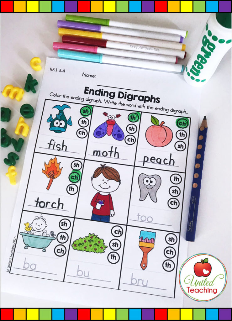 Ending Digraphs activity for reviewing ending consonant digraphs.