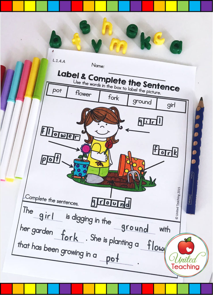 Label and Complete the Sentences Spring Writing Worksheet.