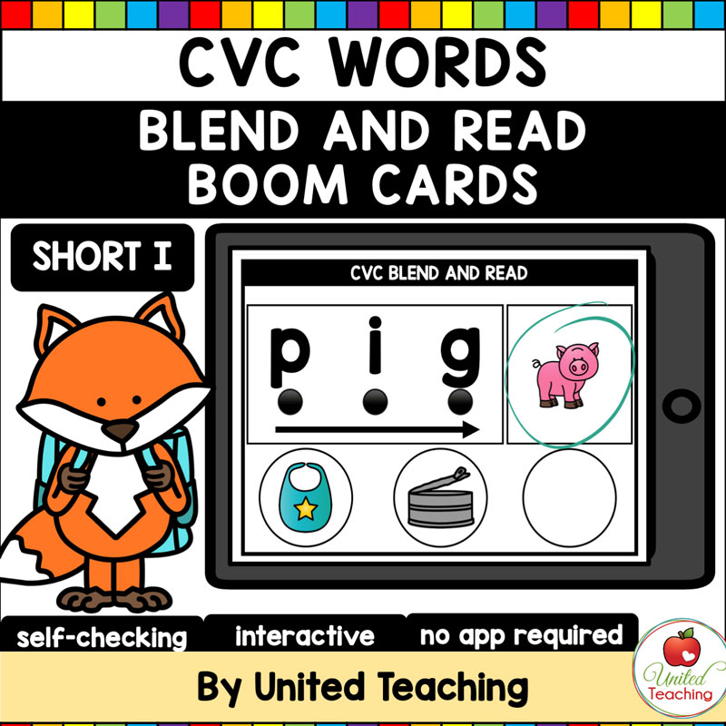 CVC Words Blend and Read Short I Boom Cards