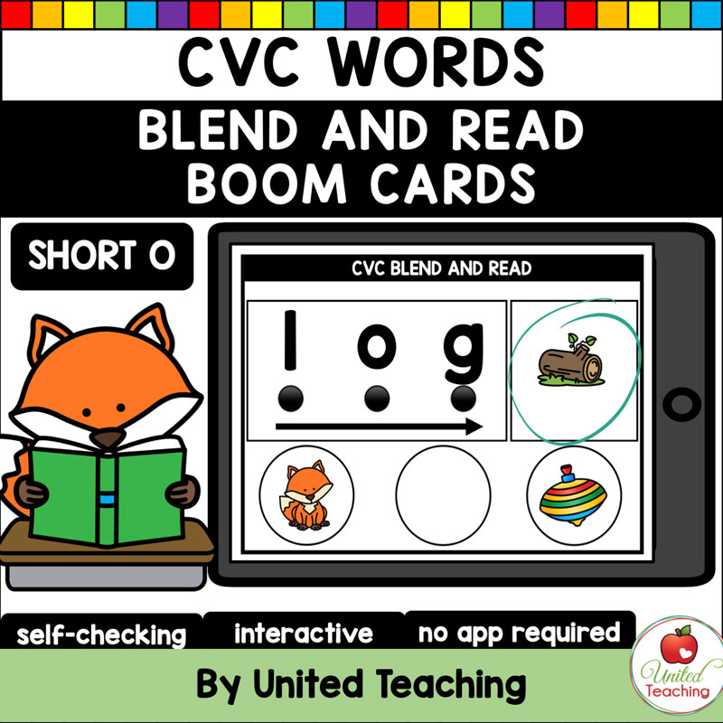 CVC Words Blend and Read Short O Boom Cards