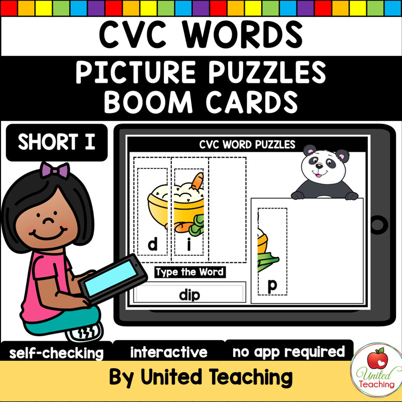 CVC Words Picture Puzzles Short I Boom Cards